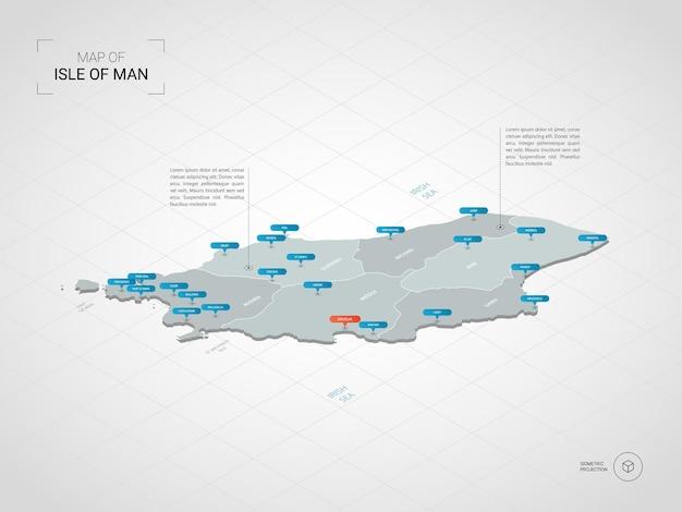 Mapa isométrico de la isla de man. ilustración de mapa estilizado con ciudades, fronteras, capitales, divisiones administrativas y marcas de puntero; fondo degradado con rejilla.