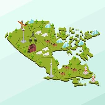 Mapa isométrico y lugares de interés de canadá