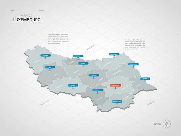 Mapa isométrico de luxemburgo. ilustración de mapa estilizado con ciudades, fronteras, capitales, divisiones administrativas y marcas de puntero; fondo degradado con rejilla.