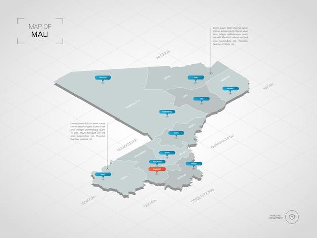 Mapa isométrico de malí. ilustración de mapa estilizado con ciudades, fronteras, capitales, divisiones administrativas y marcas de puntero; fondo degradado con rejilla.