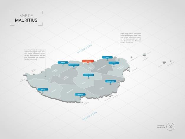 Mapa isométrico de mauricio. ilustración de mapa estilizado con ciudades, fronteras, capitales, divisiones administrativas y marcas de puntero; fondo degradado con rejilla.