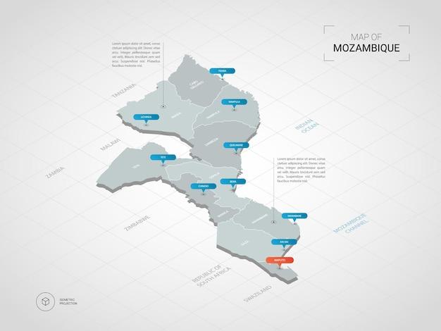 Mapa isométrico de mozambique. ilustración de mapa estilizado con ciudades, fronteras, capitales, divisiones administrativas y marcas de puntero; fondo degradado con rejilla.