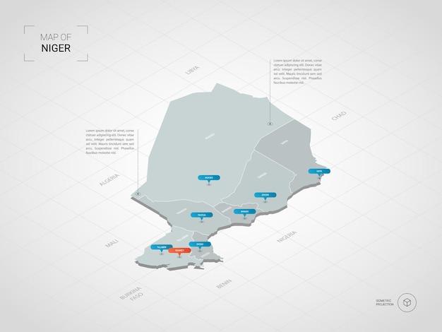 Mapa isométrico de níger. ilustración de mapa estilizado con ciudades, fronteras, capitales, divisiones administrativas y marcas de puntero; fondo degradado con rejilla.