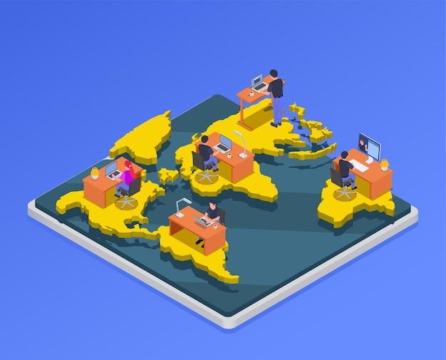 Mapa isométrico con personajes de trabajadores remotos de diferentes partes del mundo.