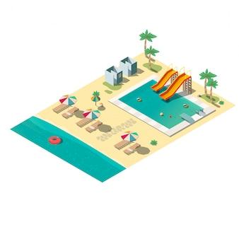 Mapa isométrico de la playa del resort tropical, sección