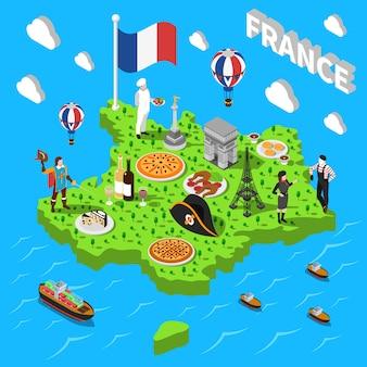 Mapa isométrico de turismo en francia para turistas