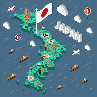 Mapa isométrico turístico de japón