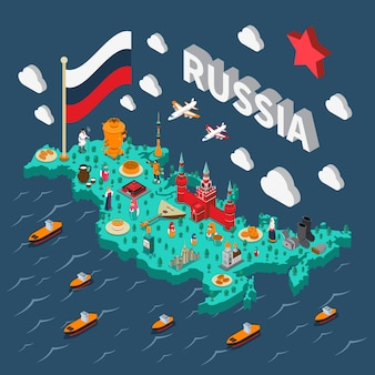 Mapa isométrico turístico de rusia