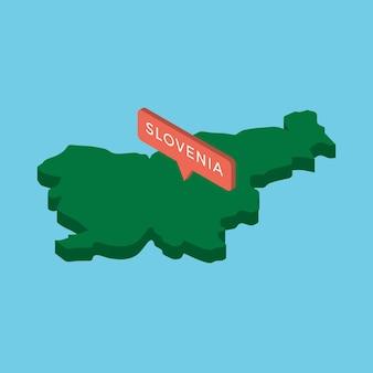 Mapa isométrico verde del país eslovenia con puntero