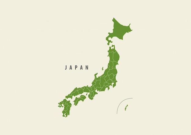 Mapa de japón verde aislado sobre fondo blanco