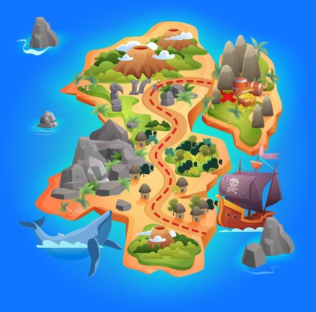 Mapa del juego del tesoro, mapa de la isla tropical de dibujos animados que muestra la dirección de la carretera al tesoro de oro pirata