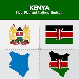 Mapa de kenia, bandera y emblema nacional