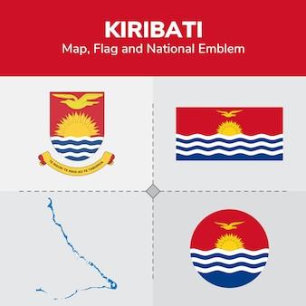 Mapa de kiribati, bandera y emblema nacional