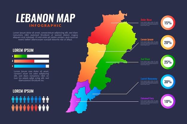 Mapa de líbano de color degradado