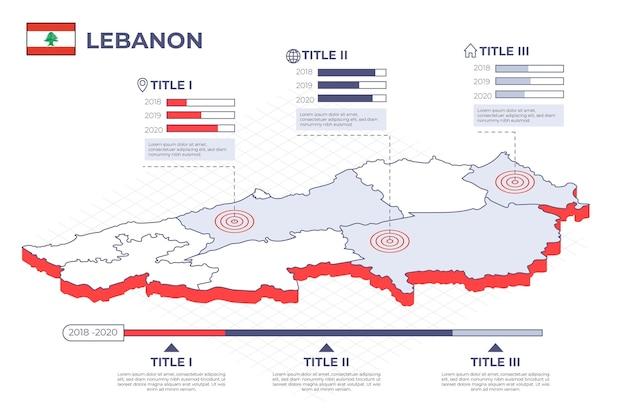 Mapa de líbano detallado isométrico