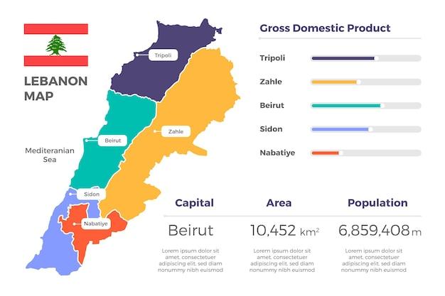 Mapa de líbano de diseño plano