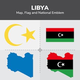 Mapa de libia, bandera y emblema nacional