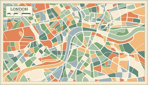 Mapa de londres inglaterra en estilo retro abstracto. ilustración de vector.