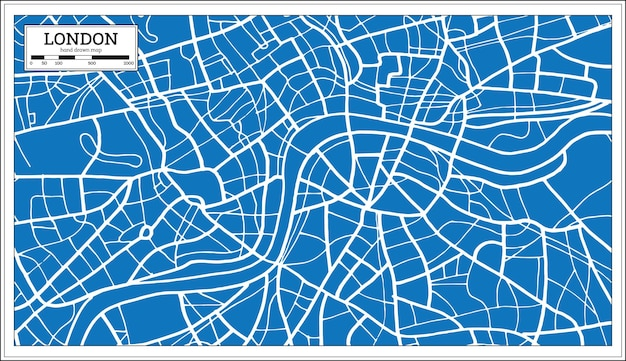 Mapa de londres inglaterra en estilo retro. ilustración de vector.