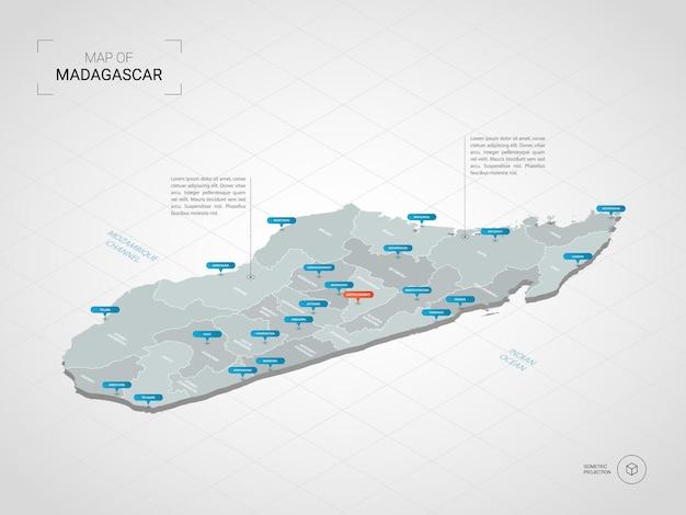 Mapa de madagascar isométrico. ilustración de mapa estilizado con ciudades, fronteras, capitales, divisiones administrativas y marcas de puntero; fondo degradado con rejilla.