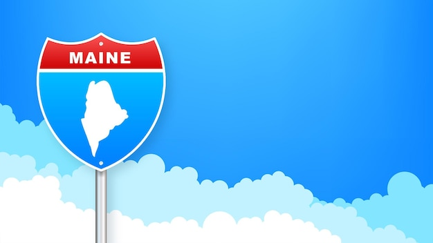 Mapa de maine en señal de tráfico. bienvenido al estado de maine. ilustración vectorial.