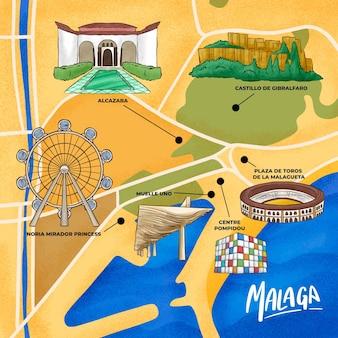 Mapa de málaga dibujado a mano