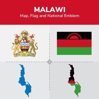 Mapa de malawi, bandera y emblema nacional