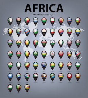 Mapa de marcadores con banderas de áfrica. colores originales