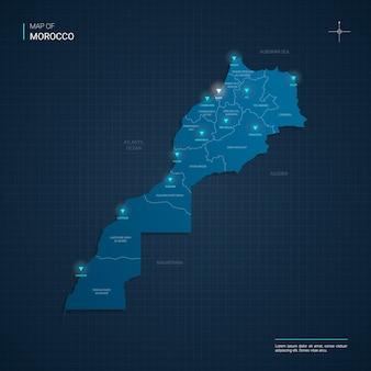 Mapa de marruecos con puntos de luz de neón azul