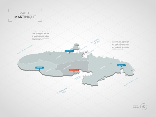 Mapa de martinica isométrica. ilustración de mapa estilizado con ciudades, fronteras, capitales, divisiones administrativas y marcas de puntero; fondo degradado con rejilla.