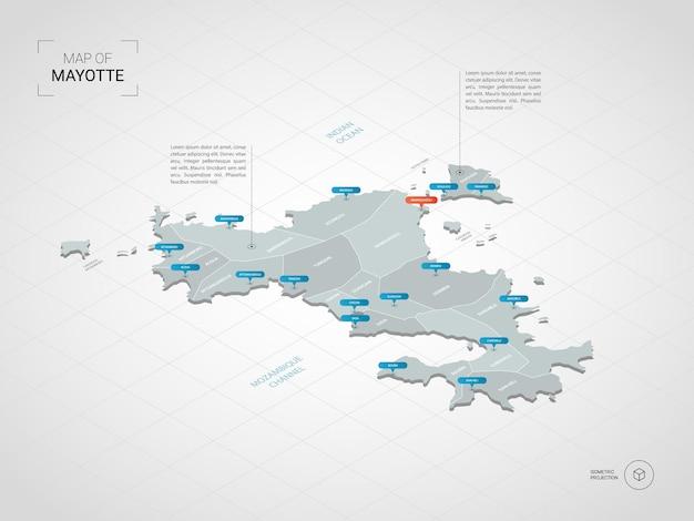 Mapa de mayotte isométrico. ilustración de mapa estilizado con ciudades, fronteras, capitales, divisiones administrativas y marcas de puntero; fondo degradado con rejilla.