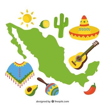 Mapa mexicano con elementos culturales