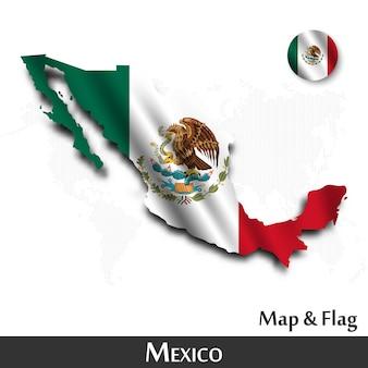 Mapa de méxico y la bandera. agitando diseño textil. punto mapa del mundo de fondo.