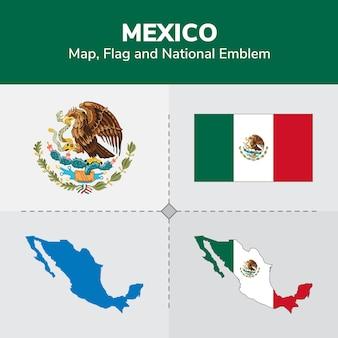 Mapa de méxico, bandera y emblema nacional