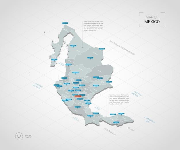 Mapa de méxico isométrico. ilustración de mapa estilizado con ciudades, fronteras, capitales, divisiones administrativas y marcas de puntero; fondo degradado con rejilla.