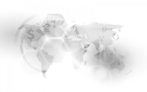 Mapa de moneda de los países del mundo. bolsa.
