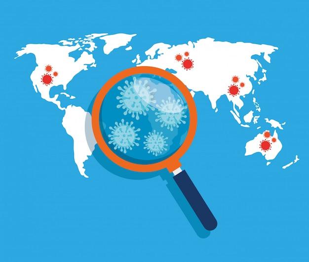 Mapa mundial con 19 ubicaciones covid y lupa