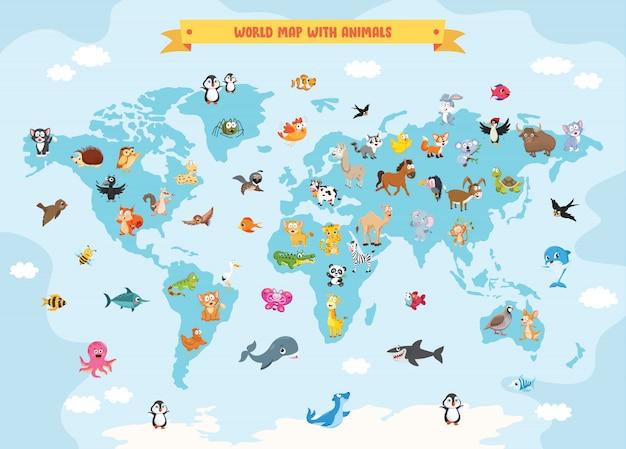Mapa mundial con animales de dibujos animados