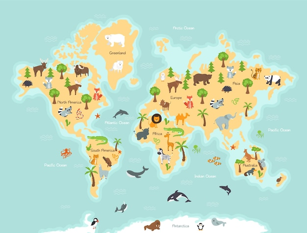 Mapa mundial con animales y plantas salvajes.