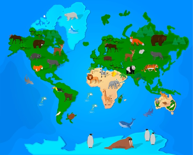 Mapa mundial con animales y plantas.