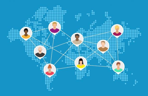 Mapa mundial con avatares de personas. redes sociales.