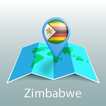 Mapa mundial de la bandera de zimbabwe en pin con el nombre del país sobre fondo gris