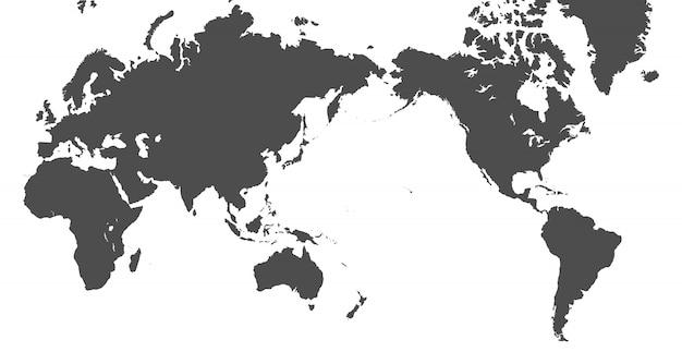 Mapa mundial centrado en el pacífico