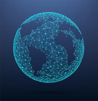Mapa mundial de conexiones de red global formado por puntos y líneas.