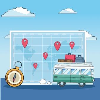 Mapa mundial y diseño de viajes