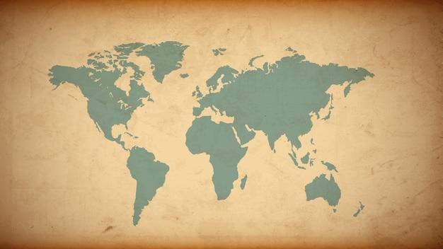 Mapa mundial de grunge en papel viejo