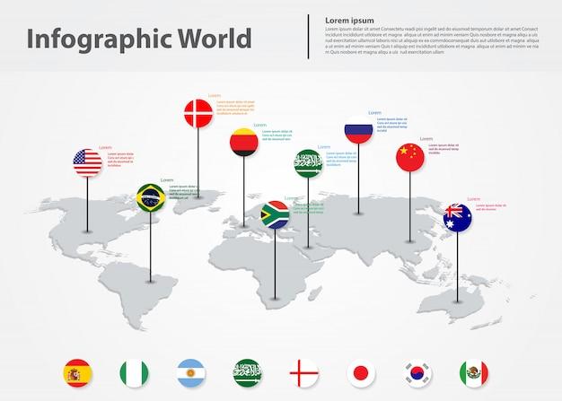 Mapa mundial de infografía, banderas internacionales del mundo.
