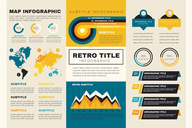 Mapa mundial de infografía con colores retro