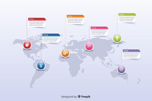 Mapa mundial con infografía de marcadores de colores