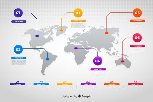 Mapa mundial infografía de negocios